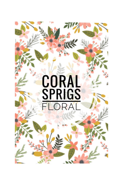 Coral Sprigs Floral Collection - CUSTOM CRIB SHEET / CHANGE PAD COVER - Dotboxed
