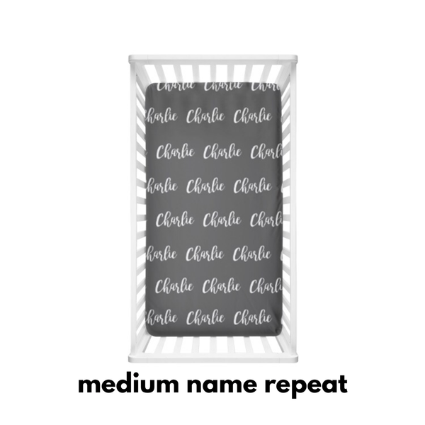 Medium Name Repeat on Coloured Background - Personalized Name Bedding - Dotboxed