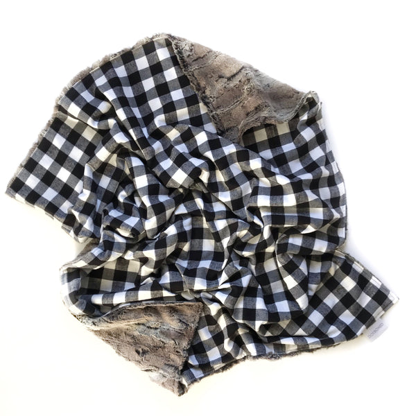 Plaid Blanket BLACK AND WHITE SMALL BUFFALO CHECK - Dotboxed