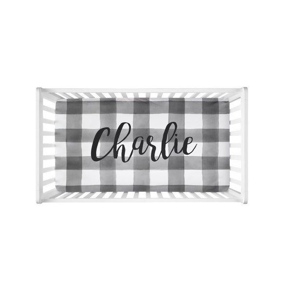 B+W Plaid Large Centered Name - Personalized Name Bedding - Dotboxed