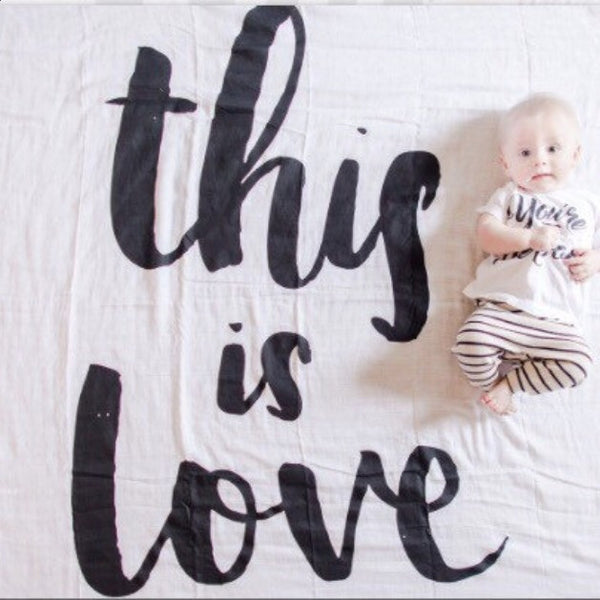 MUSLIN SWADDLE BLANKET - THIS IS LOVE - Dotboxed