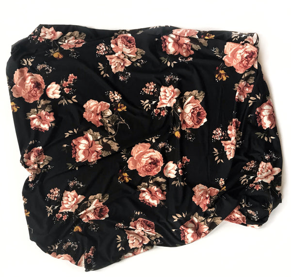 Stretchy Swaddle Blanket in Black Floral - Dotboxed