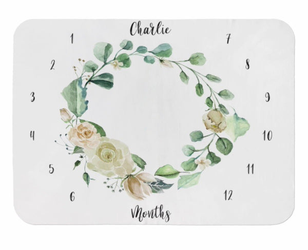 Cream Floral Wreath Milestone Blanket - Dotboxed