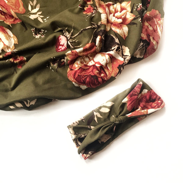 Stretchy Swaddle Blanket in Olive Floral - Dotboxed