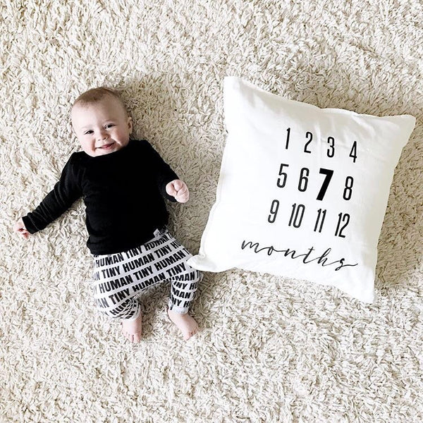SLIGHTLY IMPERFECT - MILESTONE PILLOW ONE OF A KIND - MONTHS - Dotboxed