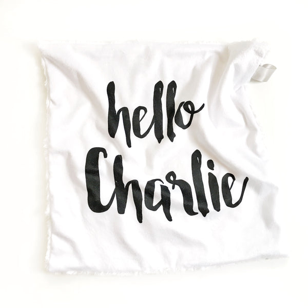 Personalized Name Lovey Blanket - LARGE CENTERED NAME - Dotboxed