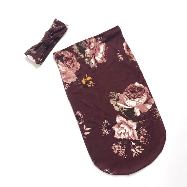 Newborn Sac Set - BURGUNDY FLORAL - Dotboxed