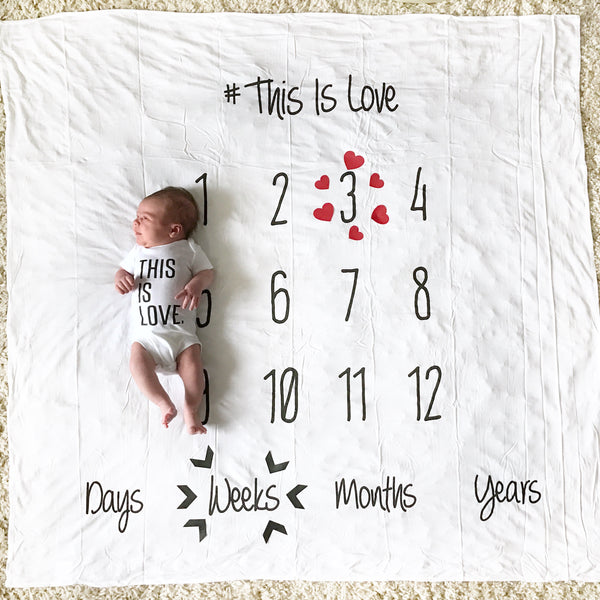-This is Love- Anniversary Blanket for Baby Milestones - WHITE 100% COTTON