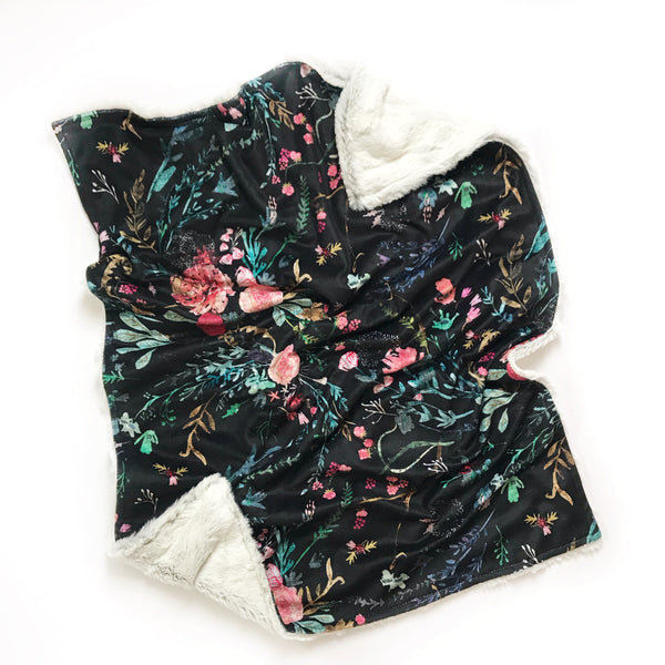 Minky Blanket - Fable Floral on Black - Dotboxed