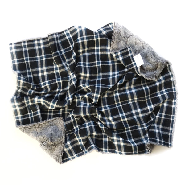 Plaid Blanket BLUE WHITE AND BLACK CHECK - Dotboxed