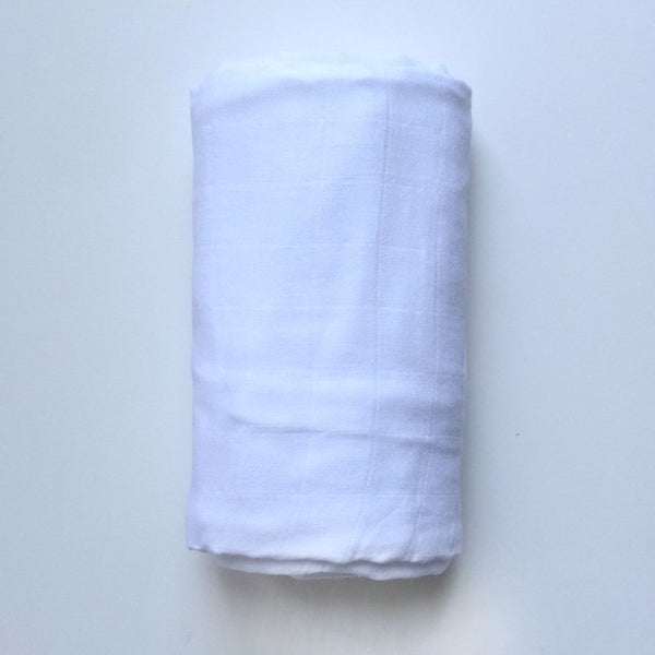 Basic White -  cotton muslin swaddle - BLANKET - Dotboxed