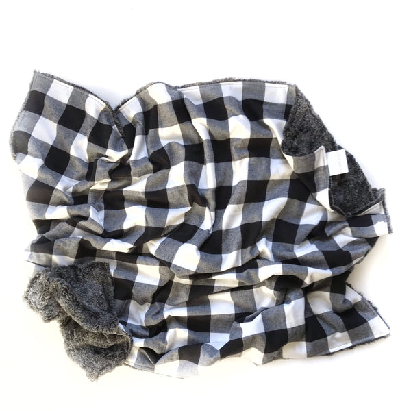 Plaid Blanket BLACK AND WHITE LARGE BUFFALO CHECK - Dotboxed