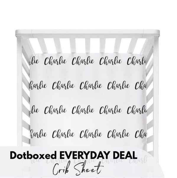Dotboxed EVERYDAY DEAL - Personalized Name Crib Sheet - Dotboxed