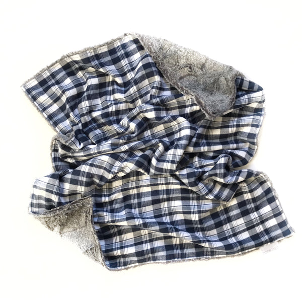 Plaid Blanket BLUE AND WHITE CHECK - Dotboxed