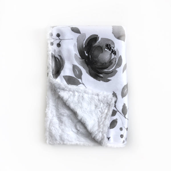 GREY AND WHITE WATERCOLOUR FLORAL BLANKET - Dotboxed