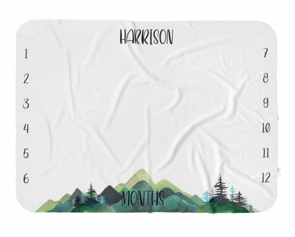 Watercolor Mountains Milestone Blanket - Dotboxed