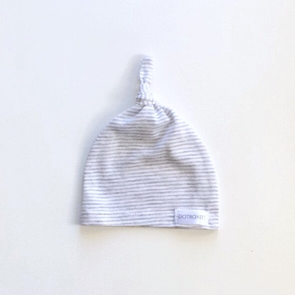 Grey and White Stripes - TIED KNOT BEANIE - Dotboxed