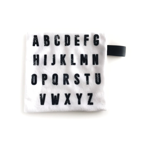 Mini Lovey / Crinkle Lovey - Black Alphabet on White