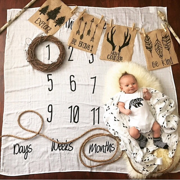 -This is Love- Anniversary Blanket for baby Milestones - ORGANIC COTTON MUSLIN - Dotboxed