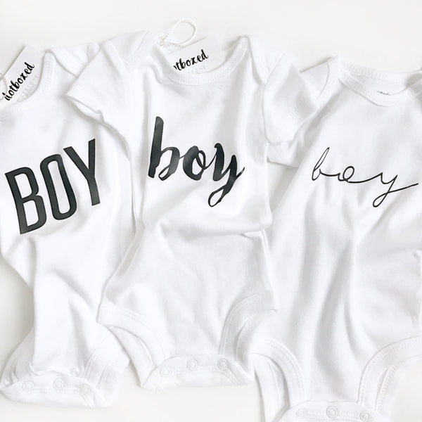 Boy Gender Reveal  (handwritten font)- BODYSUIT - wholesale - Dotboxed
