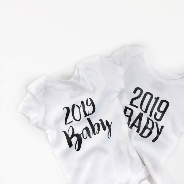 SLIGHTLY IMPERFECT - 2019 baby (bold font) announcement - BODYSUIT - Dotboxed