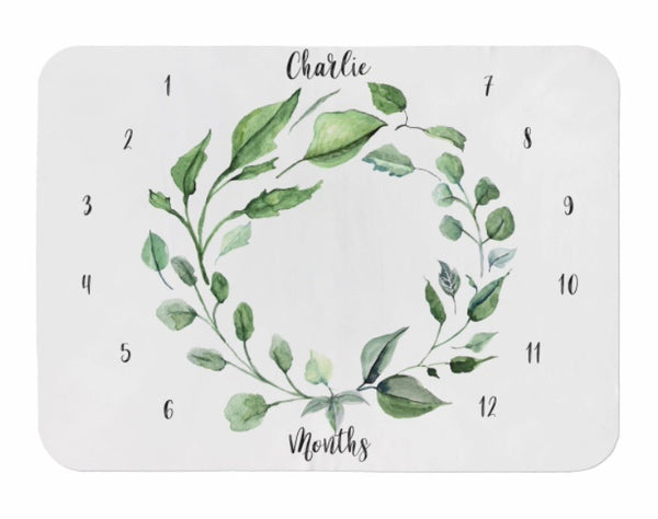 Greenery Wreath Milestone Blanket - Dotboxed