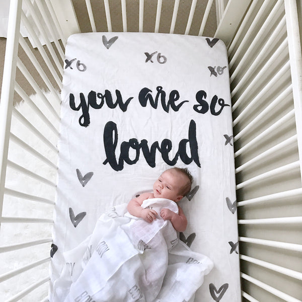 MUSLIN CRIB SHEET - YOU ARE SO LOVED - Wholesale - Dotboxed