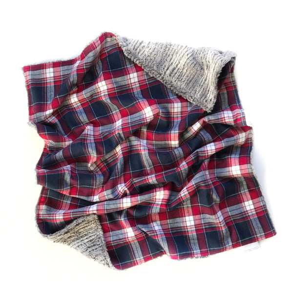 Plaid Blanket RED WHITE DEEP NAVY - Wholesale - Dotboxed