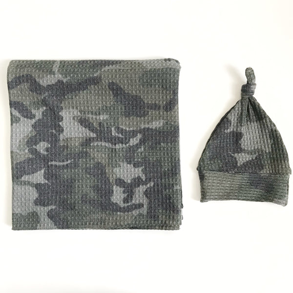 Stretchy Swaddle Blanket in Waffle Camo - Dotboxed