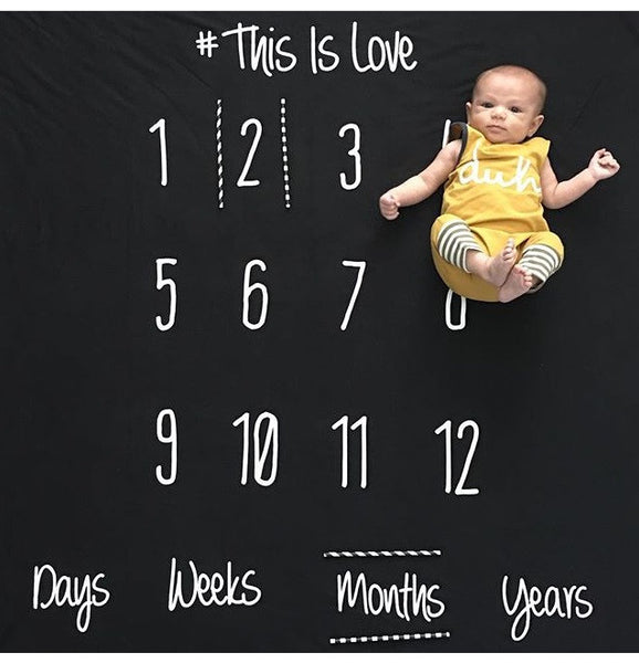 -This is Love- Anniversary Blanket for Baby Milestones - BLACK  COTTON BLEND - Dotboxed