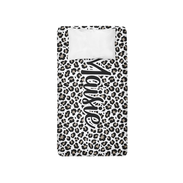 Personalized Name Twin Sheet-  Leopard - Dotboxed