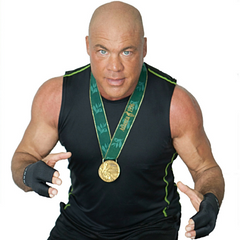 Olympic gold medalist in freestyle wrestling and WWE champion, Kurt Angle wearing finger support compression gloves, Grappz for grip strength and a better alternative to finger tape.