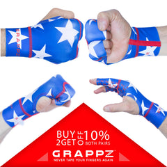 Red, White and Blue Grappz - Finger Tape Alternative Splint Compression Gloves For BJJ / All Sports