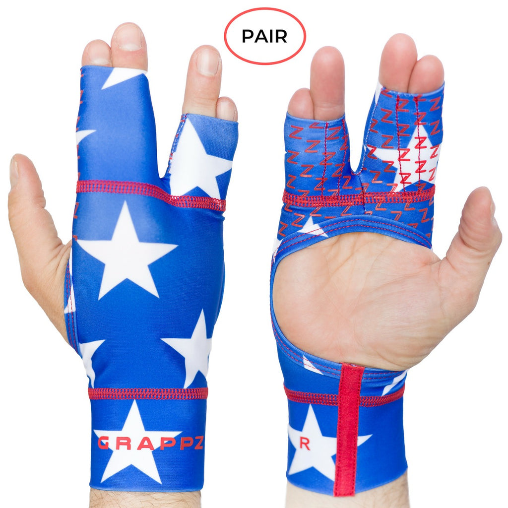 Red, White and Blue Grappz - Finger Tape Alternative Splint Athletic Gloves For BJJ / All Sports