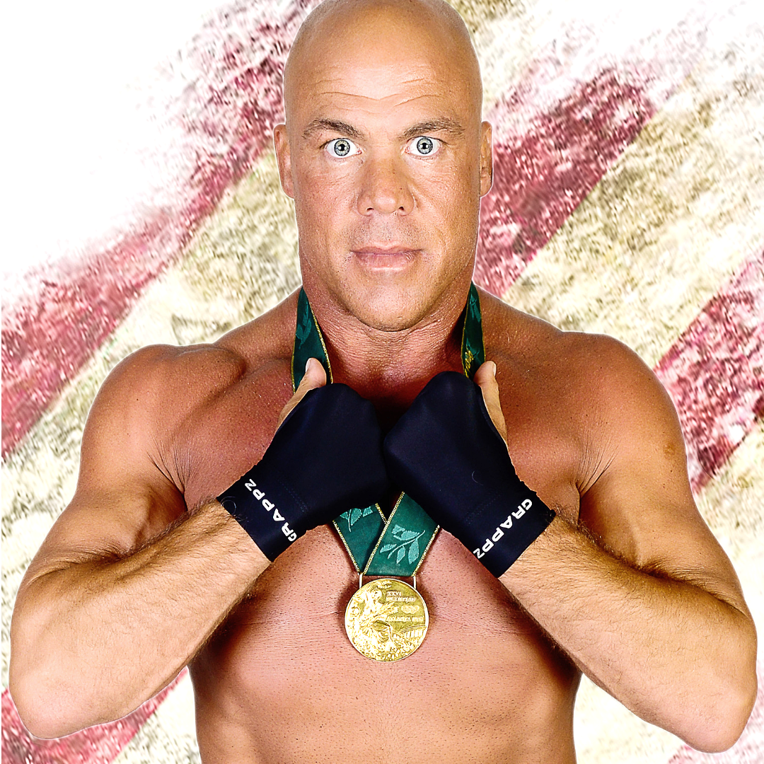 Kurt Angle with holding his olympic gold medal with Grappz