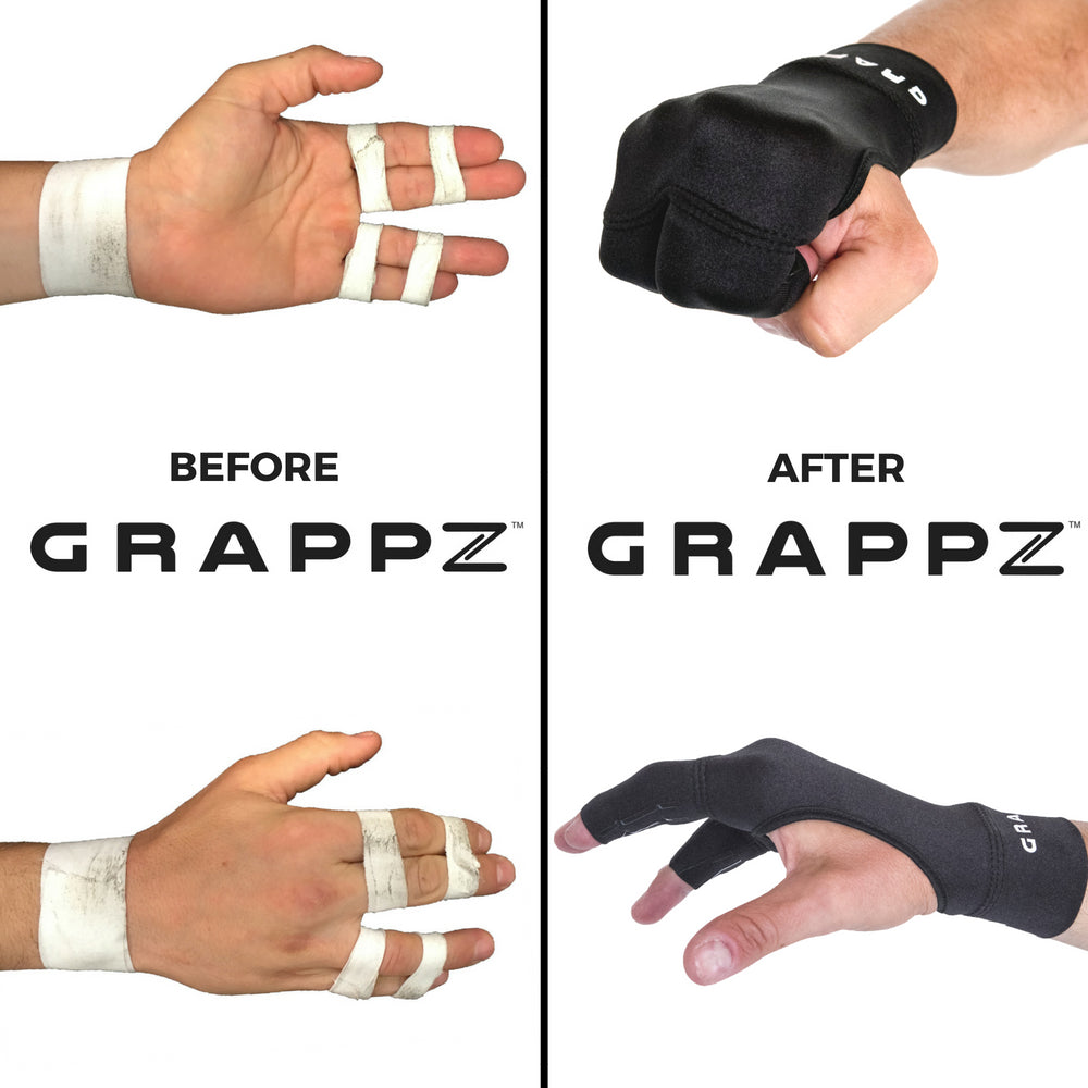 A comparison of finger tape or BJJ tape to Grappz finger support compression gloves