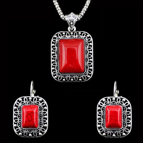 Antique Ruby Red Rectangular Necklace and Earrings