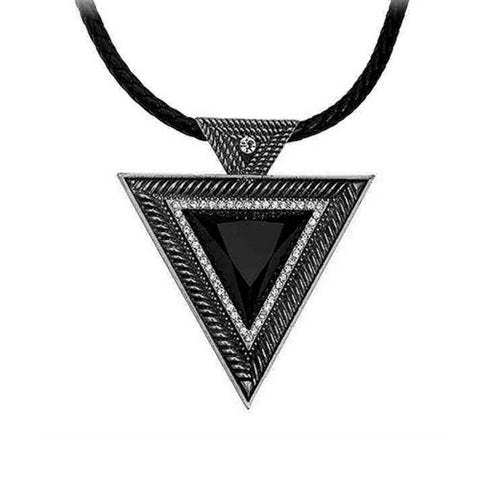 Antique Black Triangle Rhinestone Necklace