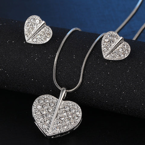Crystal Heart Necklace and Earrings