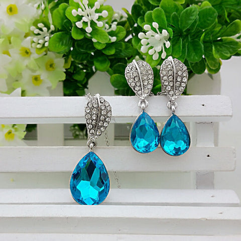 Crystal Waterdrop Leaf Pendant Set