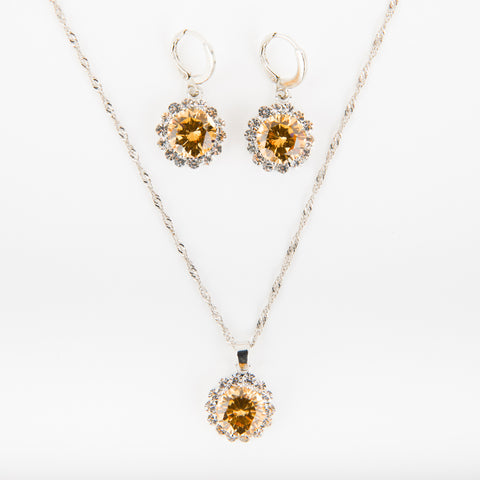 Round Crystal Necklace and Earrings