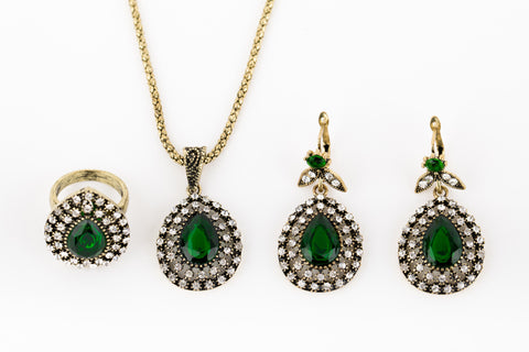 Emerald Green Turkish Jewelry Set