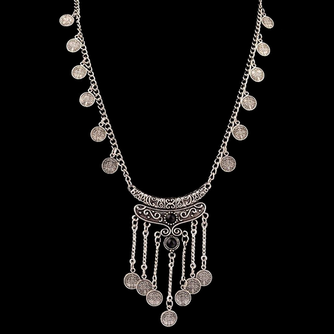 Antique Silver Coin Tassel Necklace