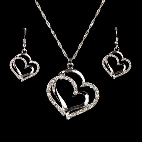Silver Nested Heart Jewelry Set