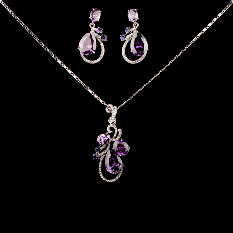 Purple Waterdrop Pendant Set