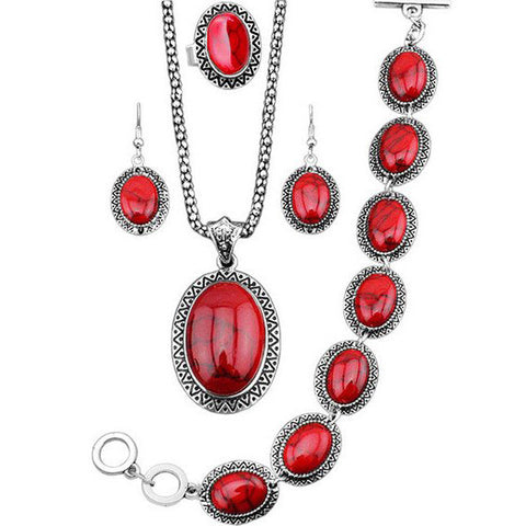 Vintage Red Oval Jewelry Set with Bracelet