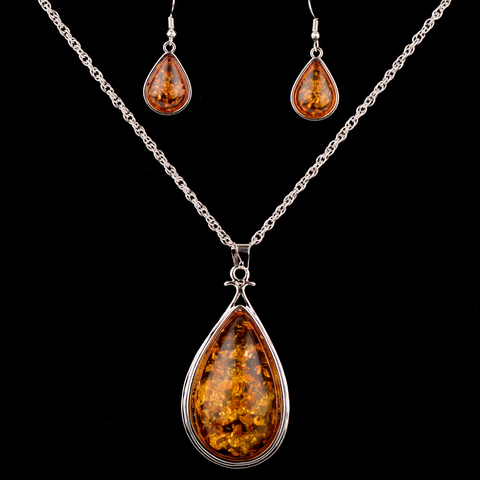 Amber Waterdrop Necklace and Earrings