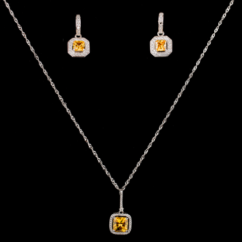 Amber Zirconia Necklace and Earrings