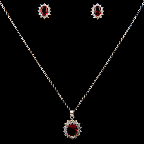 Silver Crystal Oval Necklace and Earrings