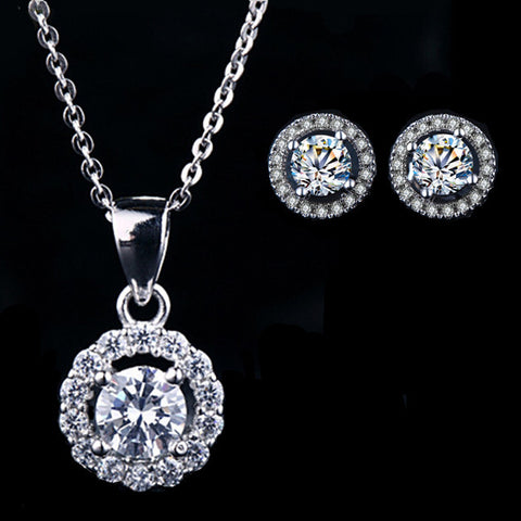 White CZ Diamond Necklace and Earrings
